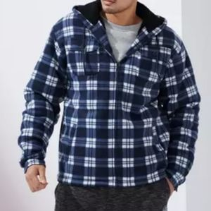 Outerwear Sherpa Lined Hooded Plaid Jacket 4XL